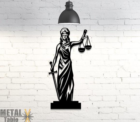 Adalet Tanrısı Lazer Kesim Metal Tablo