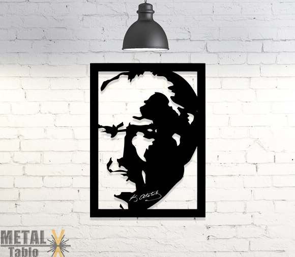 Atatürk Portre Metal Lazer Kesim Duvar Dekoru