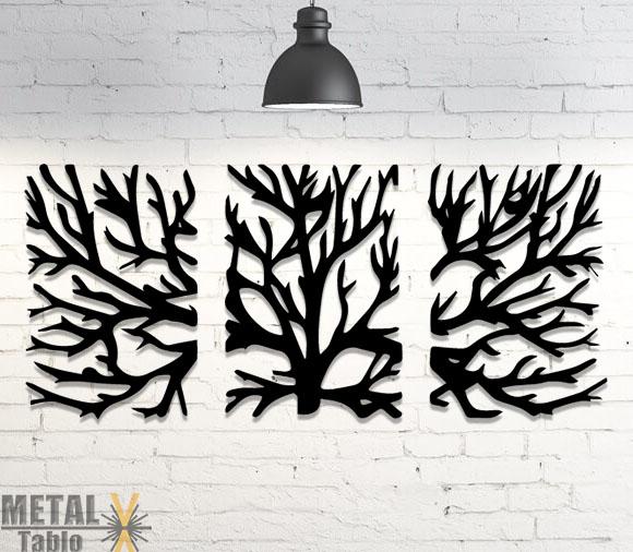 3 Parça Ağaç Desenli Tablo