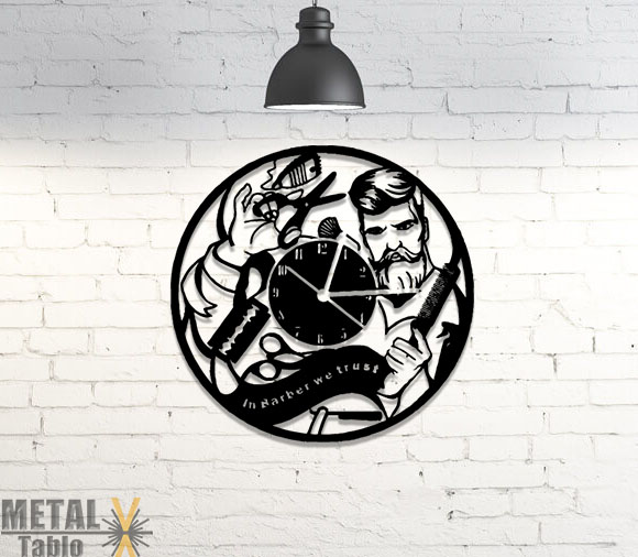 Berberlere Özel Lazer Kesim Metal Duvar Saati