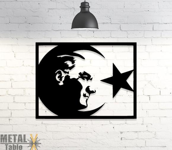 Atatürk Görselli Türk Bayrağı Lazer Kesim Metal Tablo