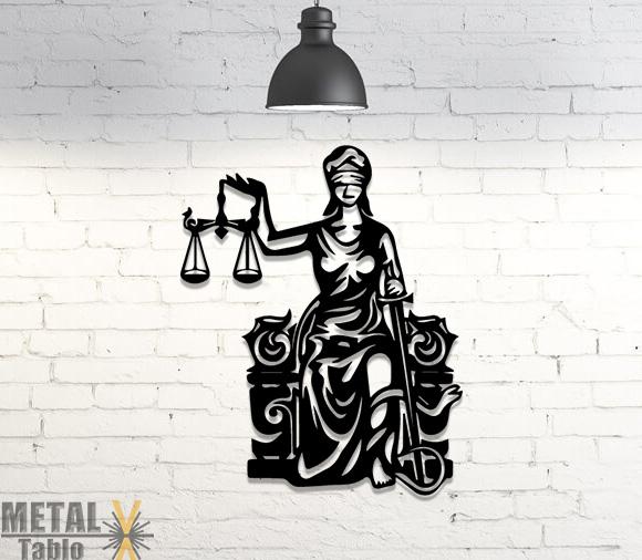 Adalet Tanrısı ve Terazi Duvar Dekoru Metal Tablo