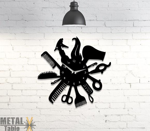 Berberlere Özel Lazer Kesim Metal Duvar Saati 3