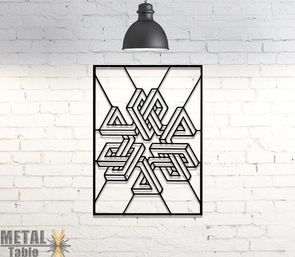 Tribal Geometrik Lazer Kesim Metal Tablo