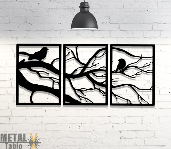 3 Parça Ağaç Kuşlar Metal Tablo