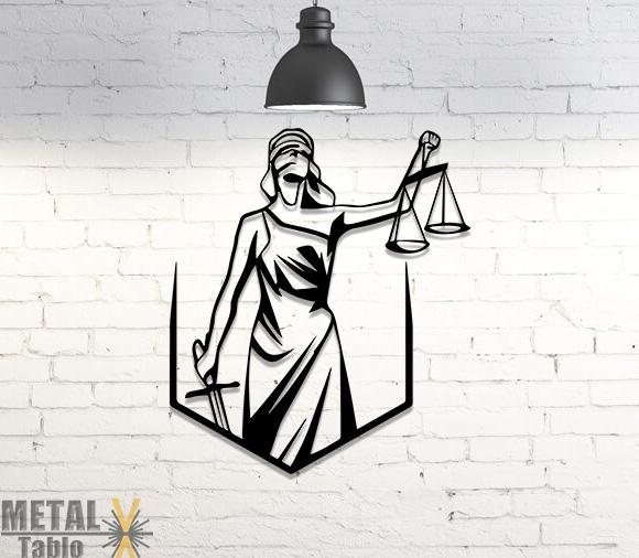 Adalet Sembolü Duvar Dekoru Lazer Kesim Tablo