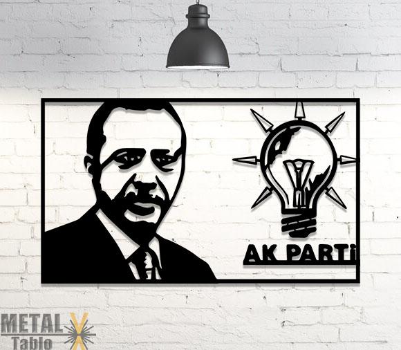 Recep Tayyip Erdoğan Metal Lazer Kesim Tablo