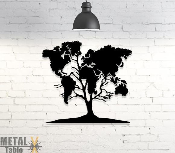 Ağaç Desenli Dünya Haritası Lazer Kesim Metal Dekor