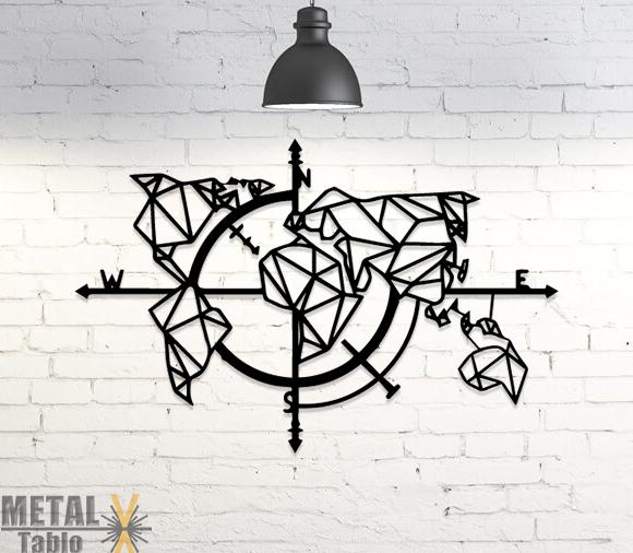 Geometrik Dünya Haritası Pusula Lazer Kesim Metal Dekor