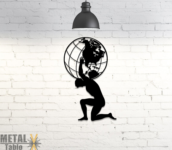 Dünyayı Sırtlanan Atlas Lazer Kesim Metal Tablo