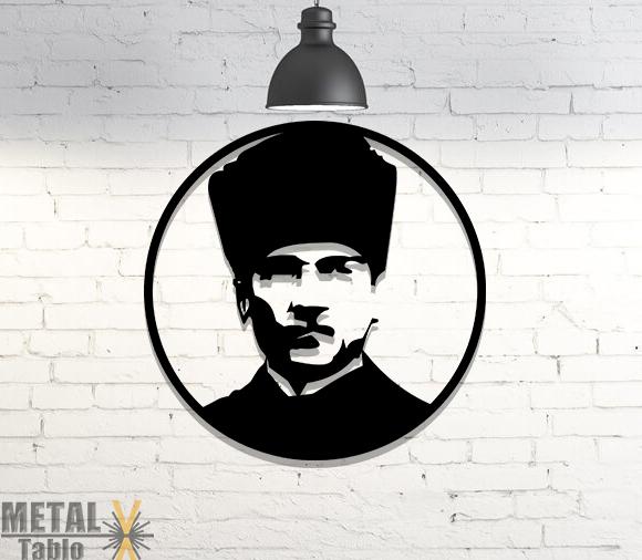 Gazi Mustafa Kemal Atatürk Lazer Kesim Metal Tablo
