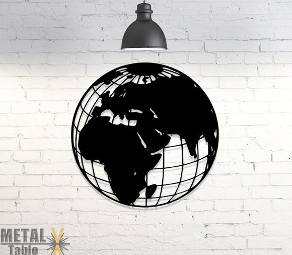 Dünya Haritası Yuvarlak Metal Lazer Kesim Tablo