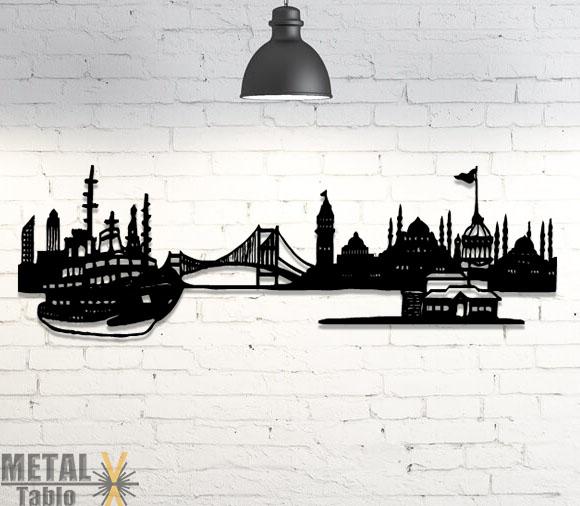 İstanbul Siluet Duvar Dekoru Metal Lazer Kesim