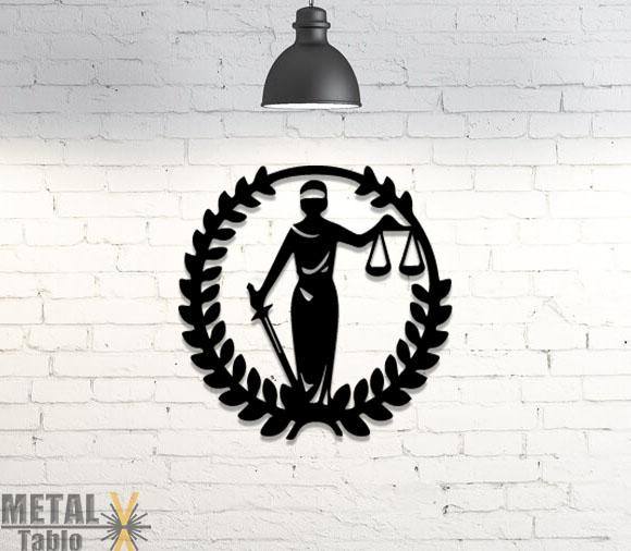 Adalet Heykeli Lazer Kesim Metal Tablo
