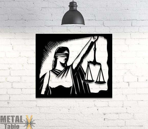 Adaletin Sembolü Lazer Kesim Duvar Dekorasyonu
