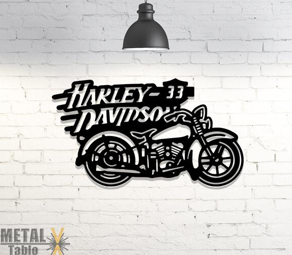 Harley Davidson Motor Metal Tablo