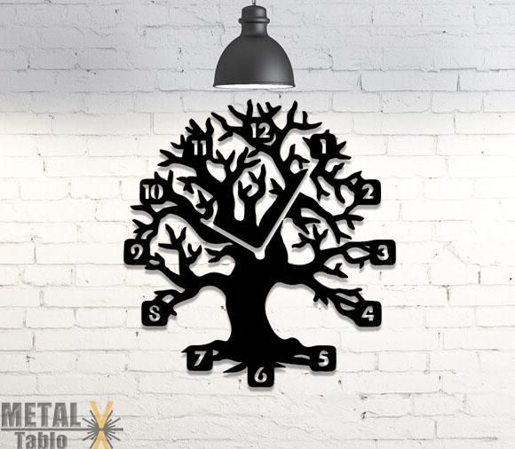 Ağaç Desenli Metal Lazer Kesim Duvar Saati