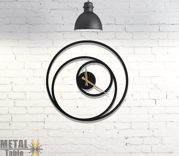 Spiral Saat Lazer Kesim Metal Duvar Dekorasyonu