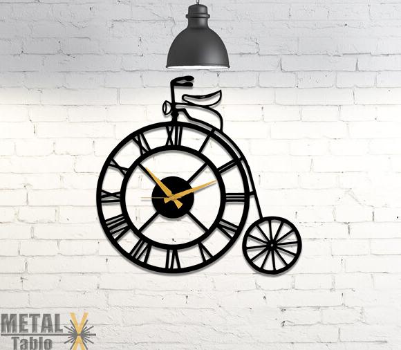 Roma Rakamlı Bisiklet Metal Duvar Saati