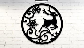 Geyik Kar Tanesi Yeni Yıl Lazer Kesim Metal Tablo