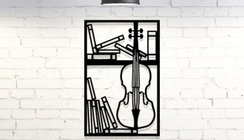 Çello Viyolonsel Müzik Aleti Metal Tablo Duvar Dekoru